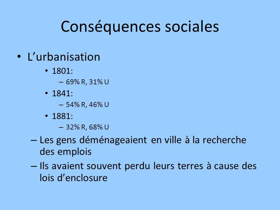 Conséquences sociales Lurbanisation 1801: – 69% R, 31% U 1841: – 54% R, 46% U 1881: – 32% R, 68% U – Les gens déménageaient en ville à la recherche de