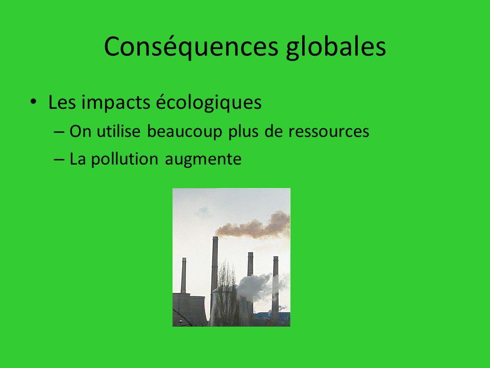 Les impacts écologiques – On utilise beaucoup plus de ressources – La pollution augmente