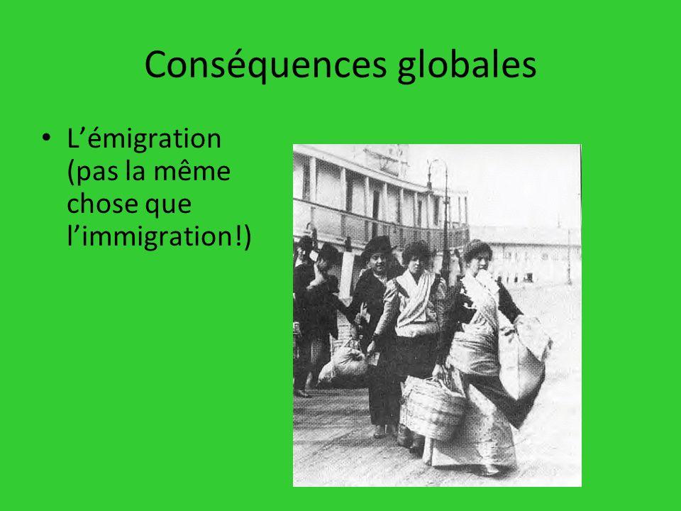 Conséquences globales Lémigration (pas la même chose que limmigration!)