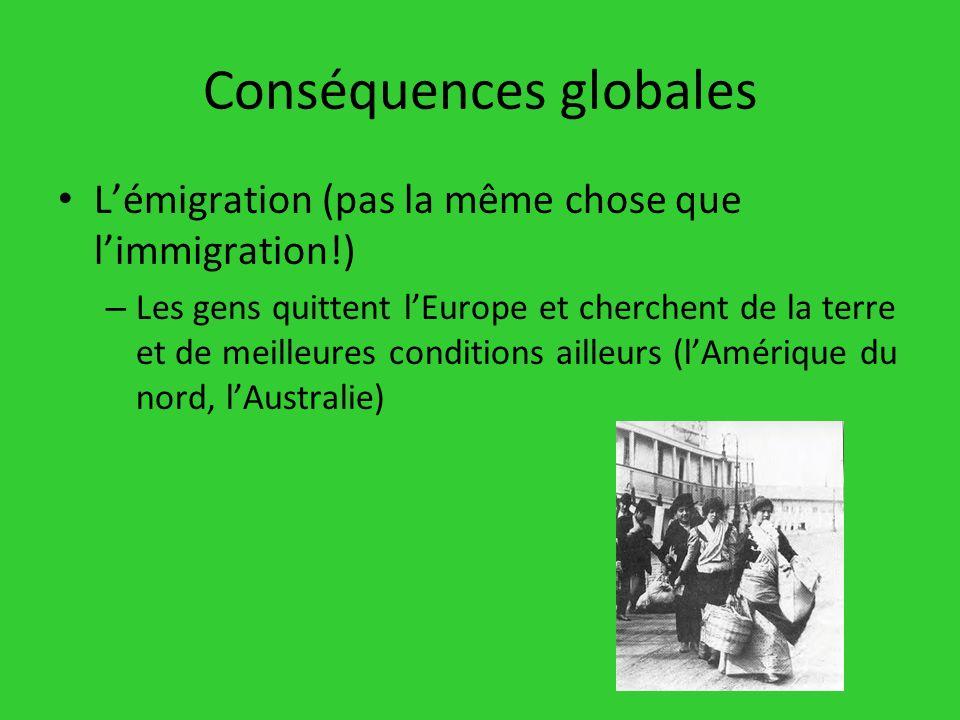 Conséquences globales Lémigration (pas la même chose que limmigration!) – Les gens quittent lEurope et cherchent de la terre et de meilleures conditio