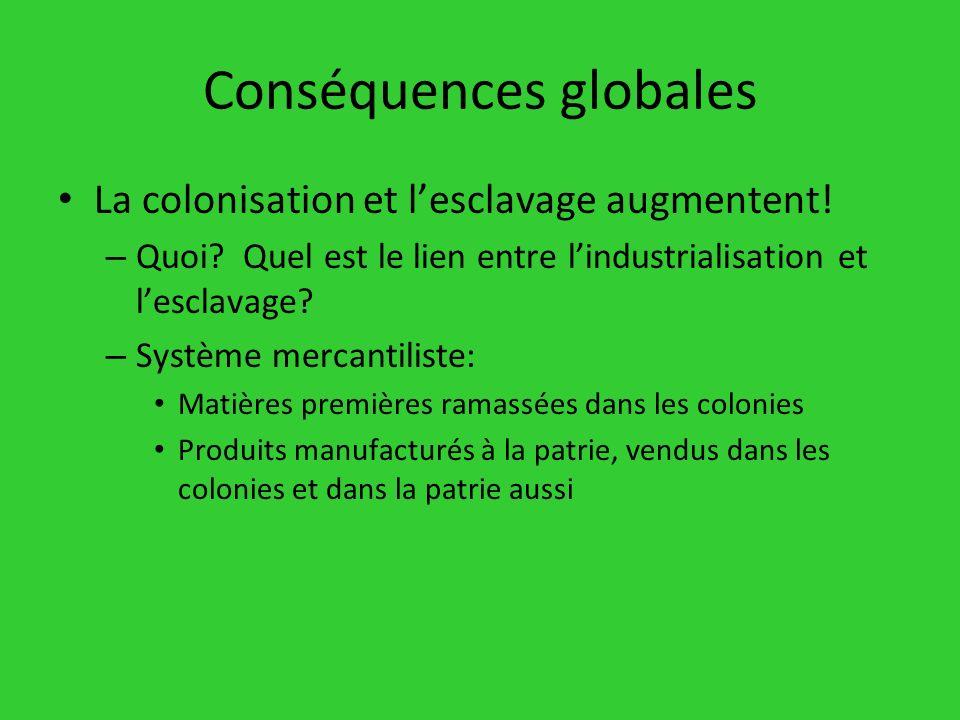 Conséquences globales La colonisation et lesclavage augmentent! – Quoi? Quel est le lien entre lindustrialisation et lesclavage? – Système mercantilis