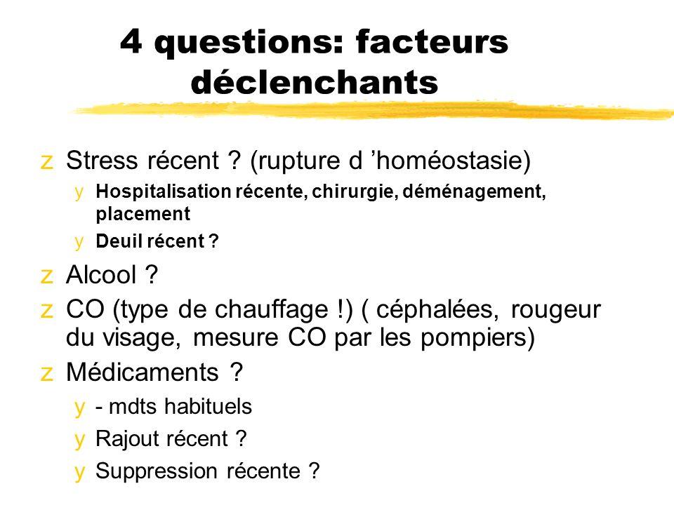 4 questions: facteurs déclenchants zStress récent ? (rupture d homéostasie) yHospitalisation récente, chirurgie, déménagement, placement yDeuil récent