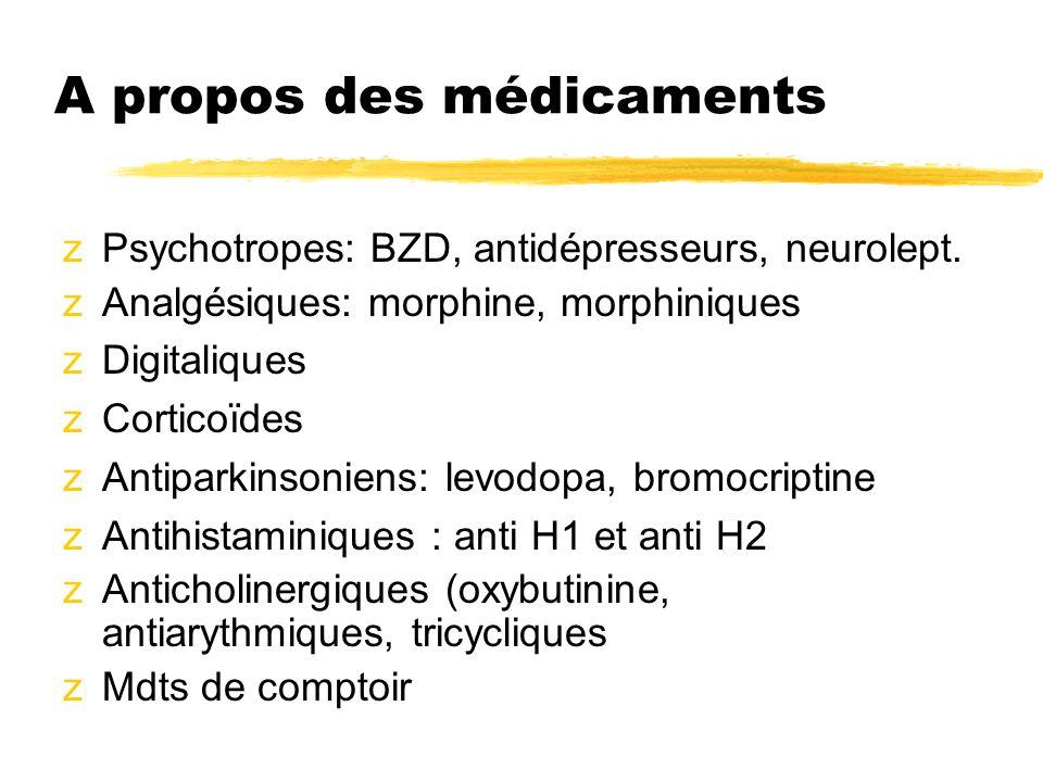 A propos des médicaments zPsychotropes: BZD, antidépresseurs, neurolept. zAnalgésiques: morphine, morphiniques zDigitaliques zCorticoïdes zAntiparkins