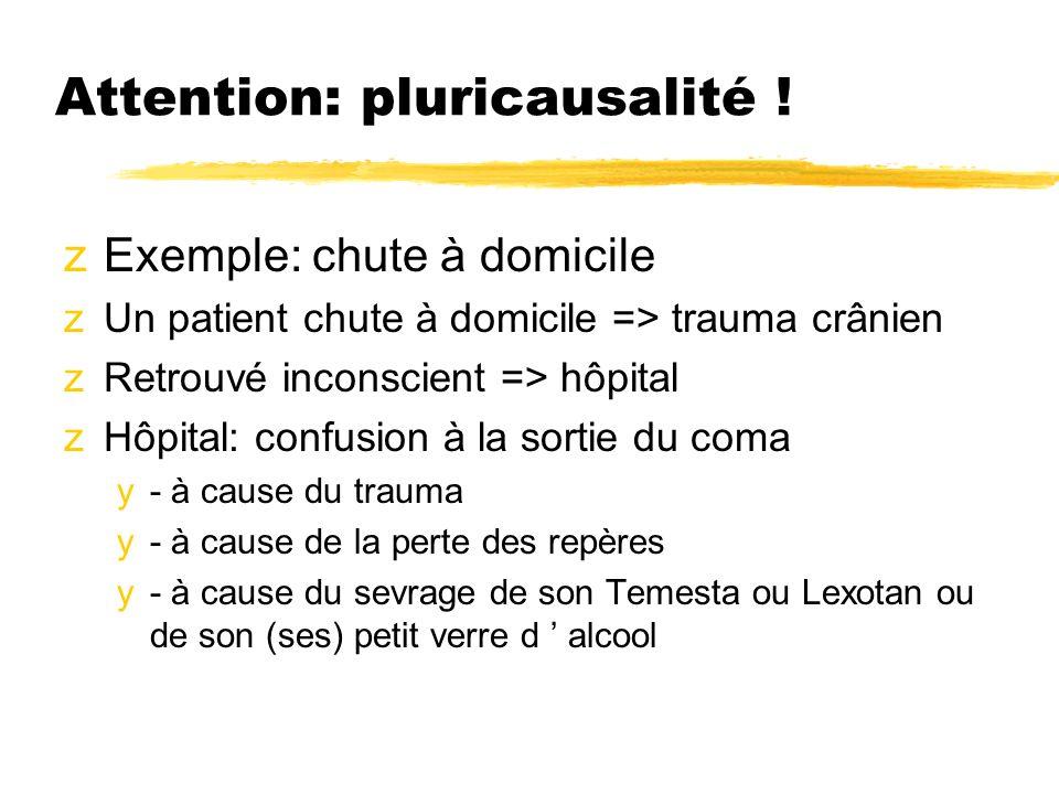 Attention: pluricausalité ! zExemple: chute à domicile zUn patient chute à domicile => trauma crânien zRetrouvé inconscient => hôpital zHôpital: confu