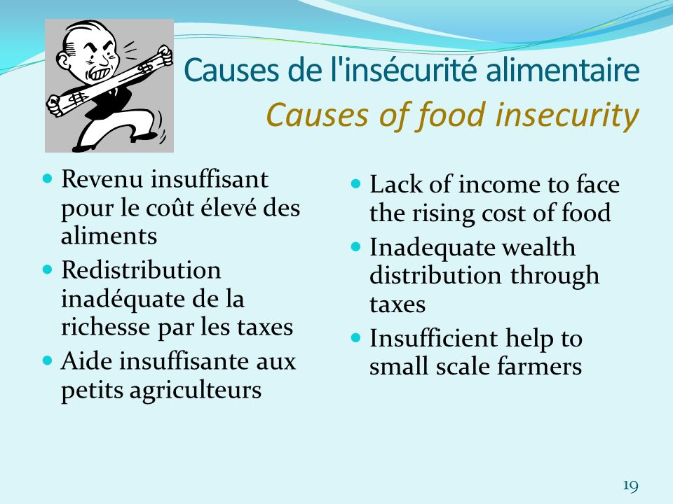 Causes de l'insécurité alimentaire Causes of food insecurity Revenu insuffisant pour le coût élevé des aliments Redistribution inadéquate de la riches