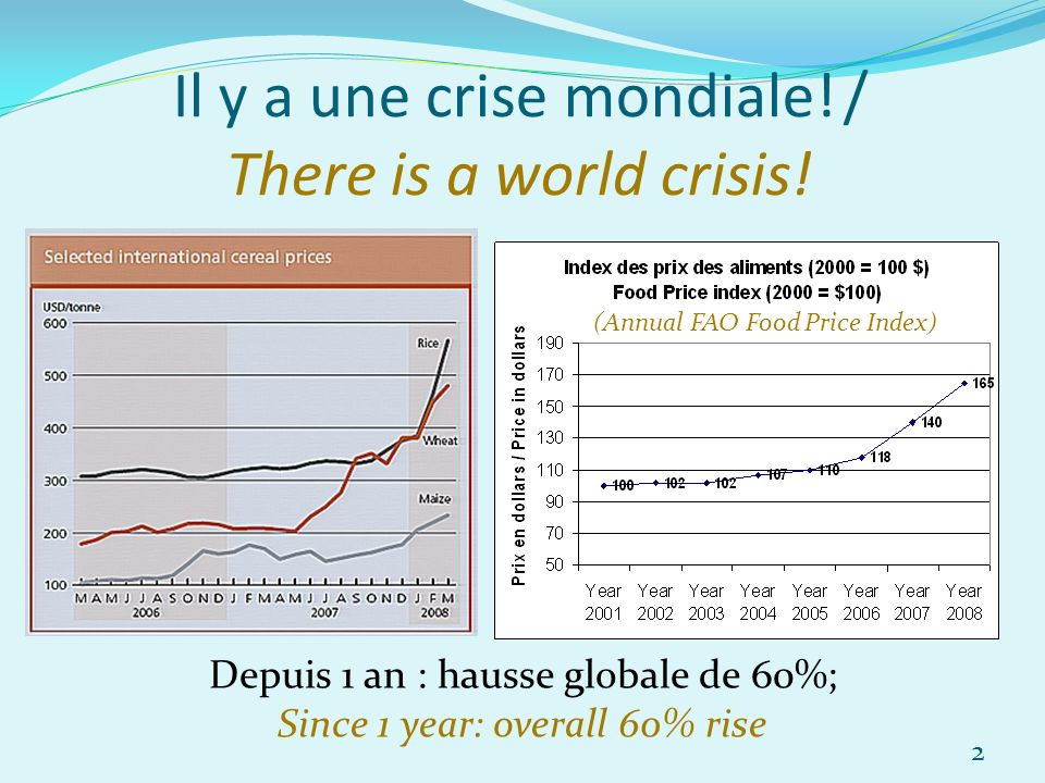 Il y a une crise mondiale! / There is a world crisis! Depuis 1 an : hausse globale de 60%; Since 1 year: overall 60% rise (Annual FAO Food Price Index
