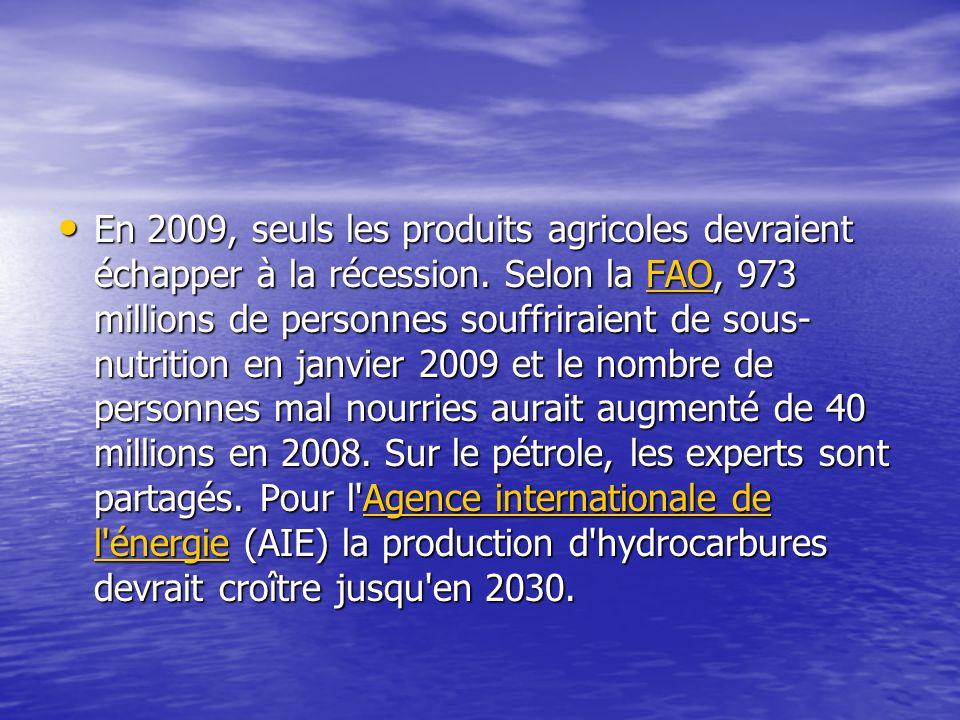 En 2009, seuls les produits agricoles devraient échapper à la récession.