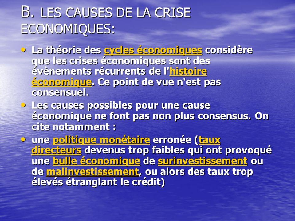 B. LES CAUSES DE LA CRISE ECONOMIQUES: La théorie des cycles économiques considère que les crises économiques sont des évènements récurrents de l'hist