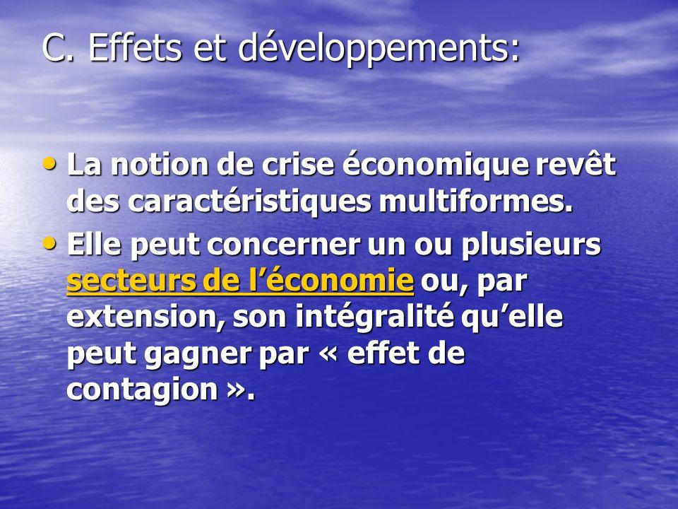 C. Effets et développements: La notion de crise économique revêt des caractéristiques multiformes.