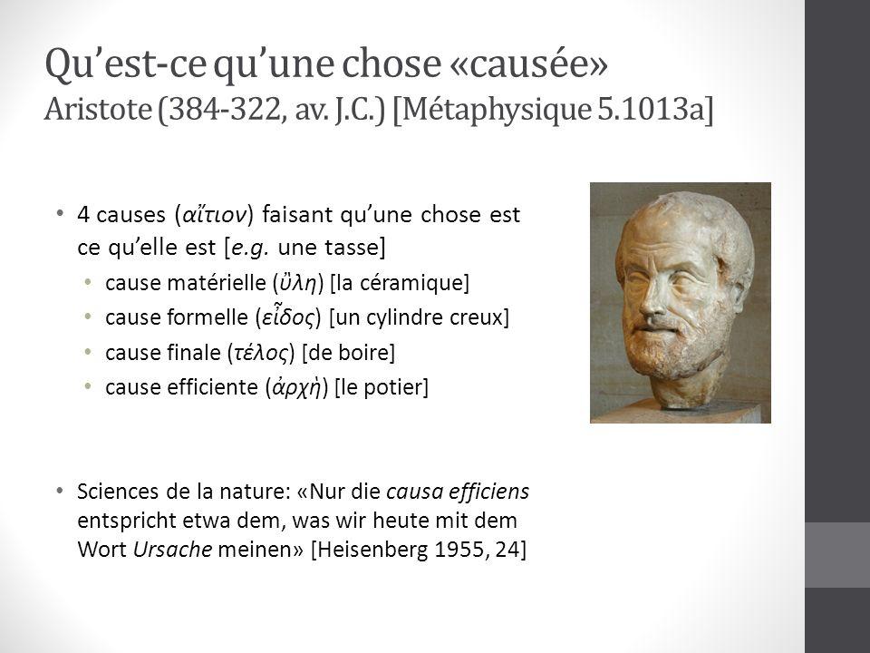 Quest-ce quune chose «causée» Aristote (384-322, av. J.C.) [Métaphysique 5.1013a] 4 causes (ατιον) faisant quune chose est ce quelle est [e.g. une tas