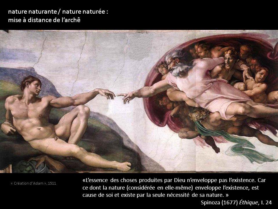 nature naturante / nature naturée : mise à distance de larchê «Lessence des choses produites par Dieu nenveloppe pas lexistence. Car ce dont la nature
