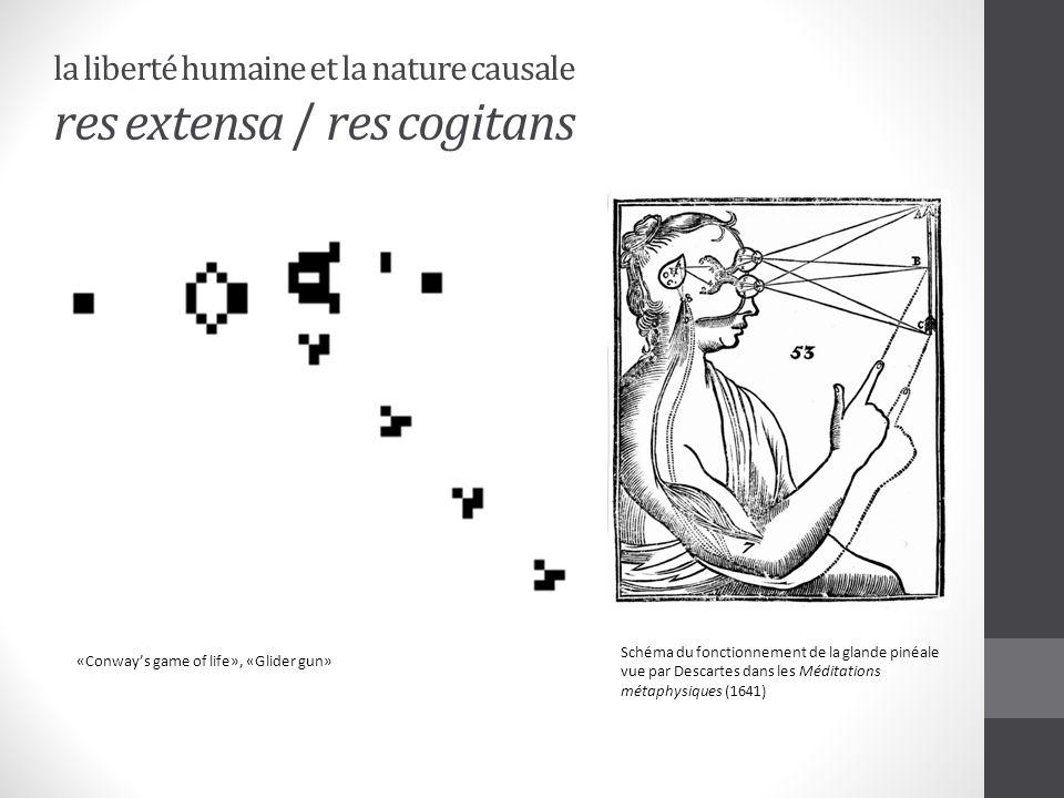 la liberté humaine et la nature causale res extensa / res cogitans «Conways game of life», «Glider gun» Schéma du fonctionnement de la glande pinéale