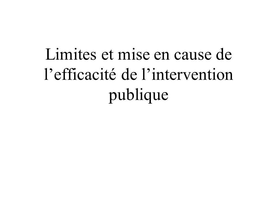 II) Mise en cause de lefficacité de lintervention publique