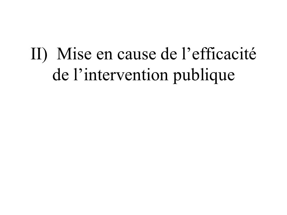 II) Mise en cause de lefficacité de lintervention publique