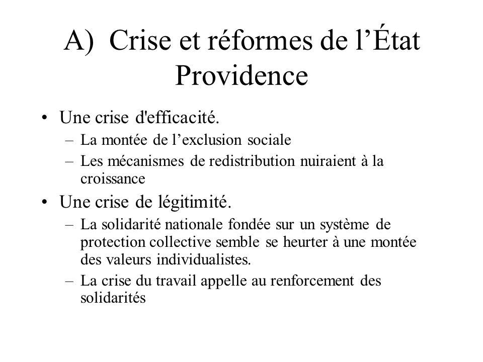 A) Crise et réformes de lÉtat Providence Une crise d efficacité.