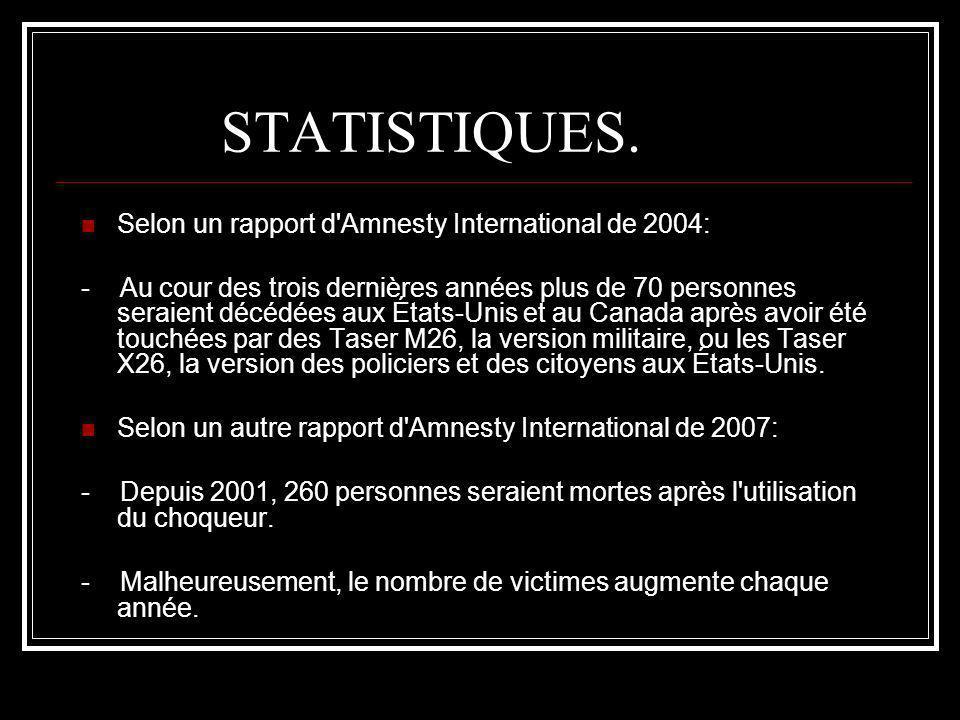 STATISTIQUES. Selon un rapport d'Amnesty International de 2004: - Au cour des trois dernières années plus de 70 personnes seraient décédées aux États-