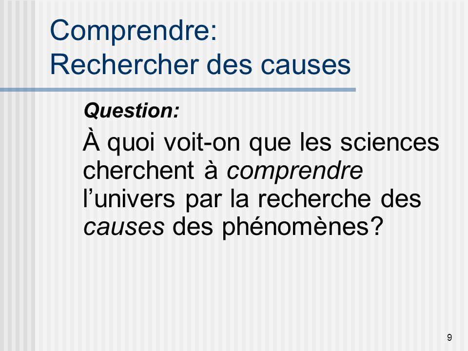 9 Comprendre: Rechercher des causes Question: À quoi voit-on que les sciences cherchent à comprendre lunivers par la recherche des causes des phénomèn