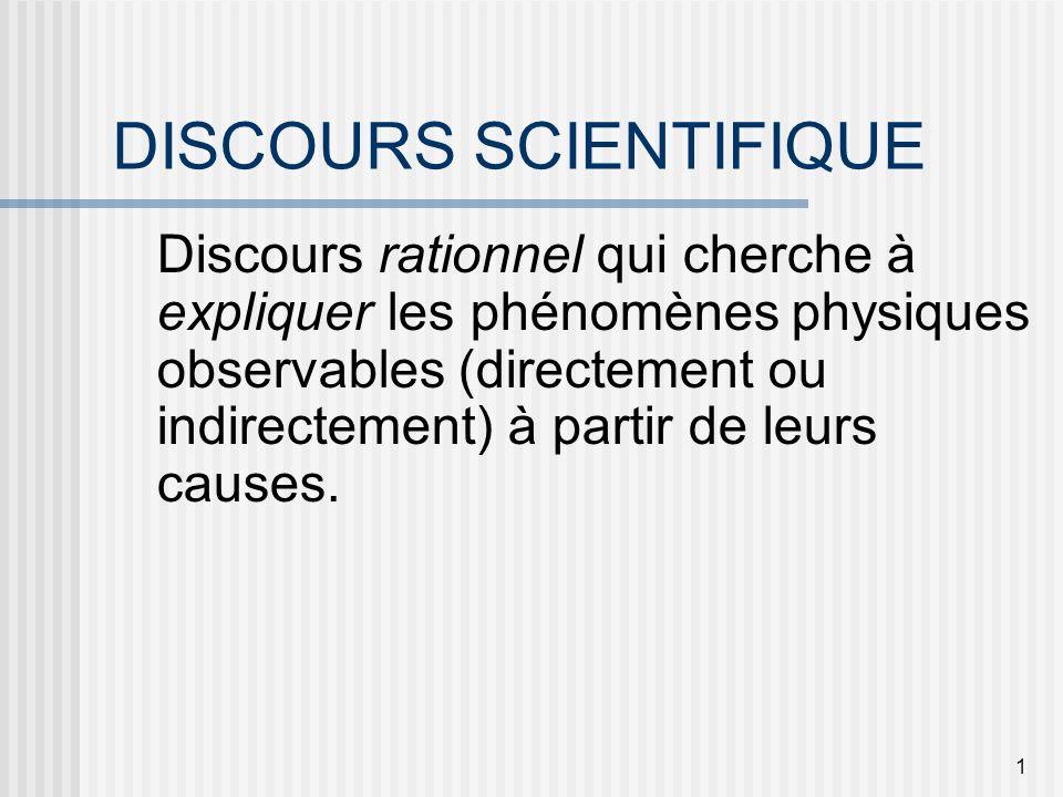 1 DISCOURS SCIENTIFIQUE Discours rationnel qui cherche à expliquer les phénomènes physiques observables (directement ou indirectement) à partir de leu