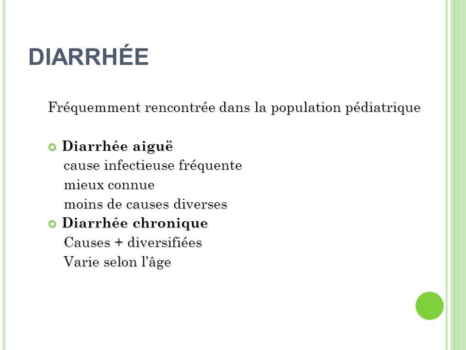 DIARRHÉE OSMOTIQUE Rappel du calcul du gap osmotique: 290-2(Na + + K + ) Si gap>125 mOsm/Kg Si pH <5.5 Principales causes: 1-Diarrhée fonctionnelle 2-Maladie céliaque 3-Malabsorption des hydrates de carbone 4-Intolérance au lactose 5-Abus de laxatif Sont typiquement moins volumineuses que les diarrhées sécrétoires Saméliorent ou se résolvent avec le jeûne Elles ont typiquement une petite concentration en Na ( <70mEq/L)