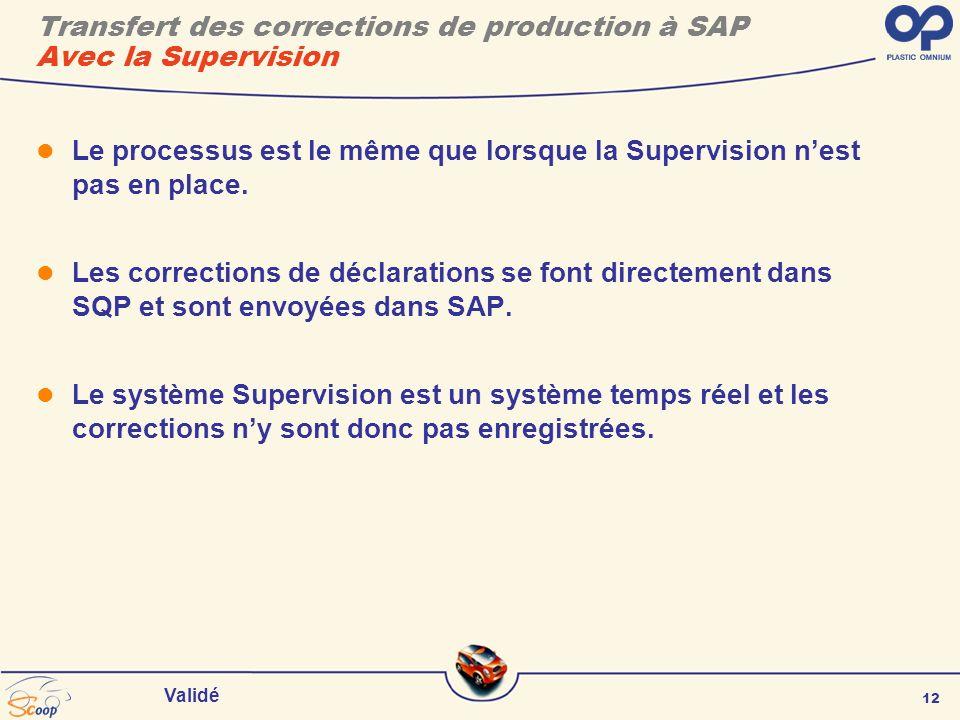 12 Validé Transfert des corrections de production à SAP Avec la Supervision Le processus est le même que lorsque la Supervision nest pas en place.
