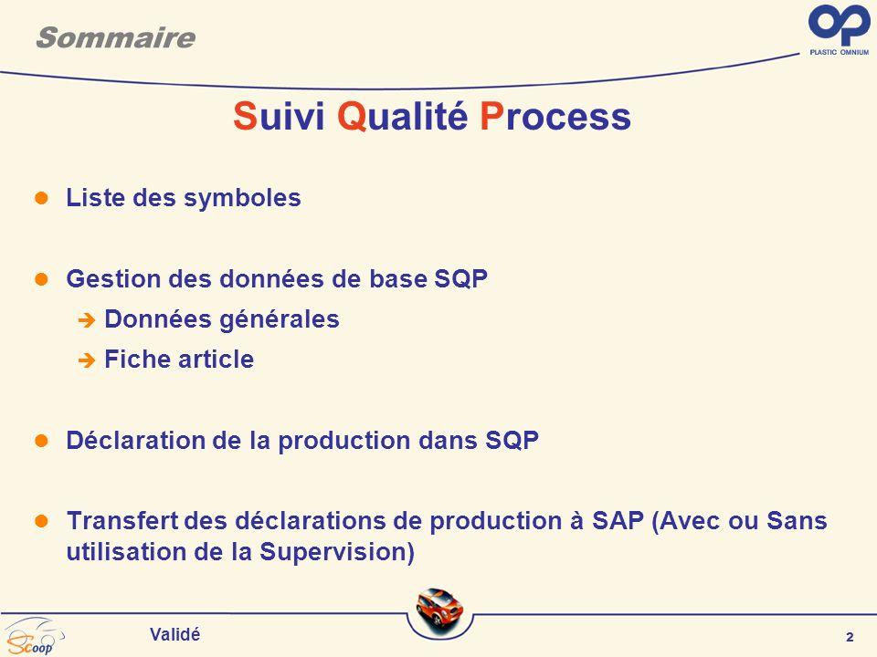 2 Validé Sommaire Suivi Qualité Process Liste des symboles Gestion des données de base SQP Données générales Fiche article Déclaration de la production dans SQP Transfert des déclarations de production à SAP (Avec ou Sans utilisation de la Supervision)