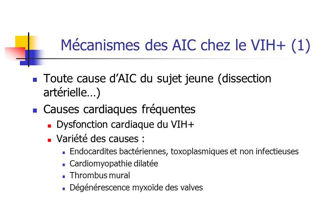 Mécanismes des AIC chez le VIH+ (1) Toute cause dAIC du sujet jeune (dissection artérielle…) Causes cardiaques fréquentes Dysfonction cardiaque du VIH+ Variété des causes : Endocardites bactériennes, toxoplasmiques et non infectieuses Cardiomyopathie dilatée Thrombus mural Dégénérescence myxoïde des valves