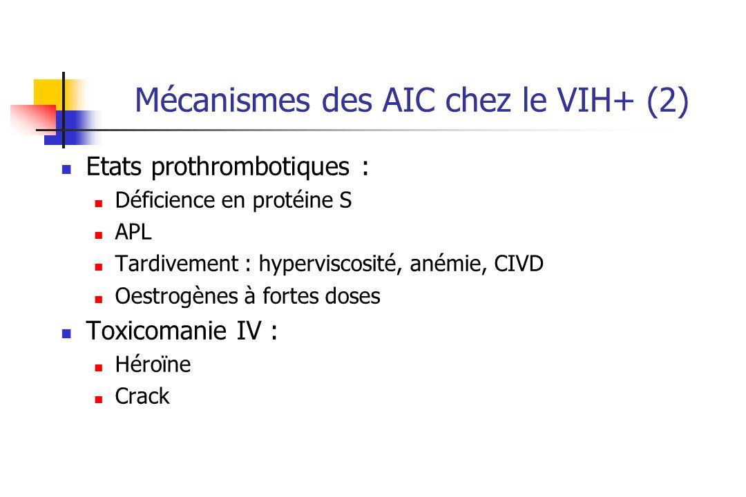 Mécanismes des AIC chez le VIH+ (2) Etats prothrombotiques : Déficience en protéine S APL Tardivement : hyperviscosité, anémie, CIVD Oestrogènes à fortes doses Toxicomanie IV : Héroïne Crack