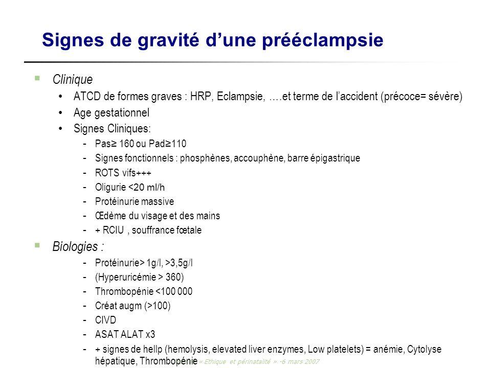 Journée « Ethique et périnatalité » -6 mars 2007 Signes de gravité dune prééclampsie Clinique ATCD de formes graves : HRP, Eclampsie, ….et terme de la