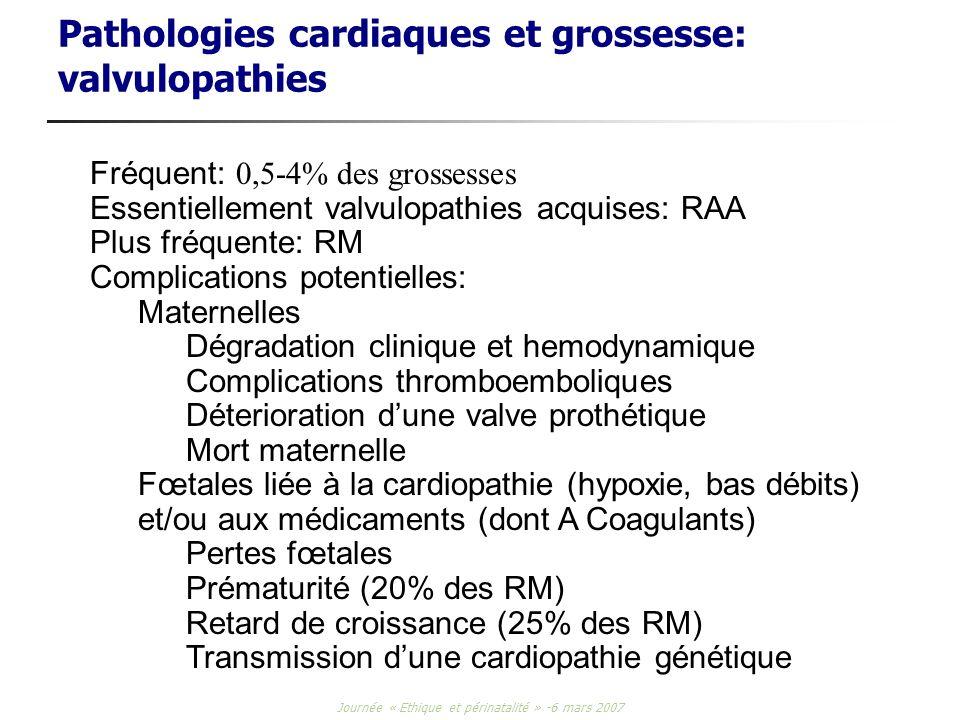 Journée « Ethique et périnatalité » -6 mars 2007 Pathologies cardiaques et grossesse: valvulopathies Fréquent: 0,5-4% des grossesses Essentiellement v