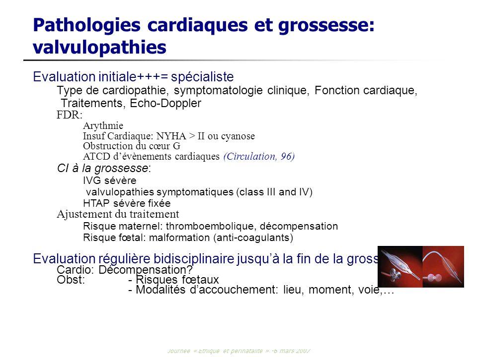 Journée « Ethique et périnatalité » -6 mars 2007 Pathologies cardiaques et grossesse: valvulopathies Evaluation initiale+++= spécialiste Type de cardi