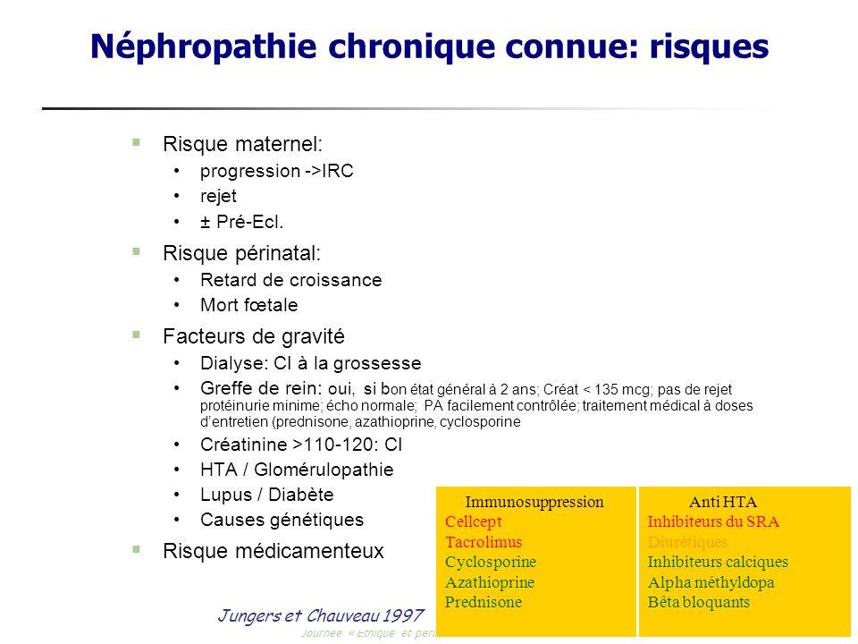 Journée « Ethique et périnatalité » -6 mars 2007 Néphropathie chronique connue: risques Risque maternel: progression ->IRC rejet ± Pré-Ecl. Risque pér