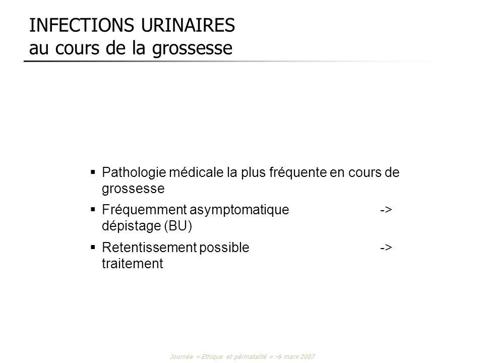 Journée « Ethique et périnatalité » -6 mars 2007 INFECTIONS URINAIRES au cours de la grossesse Pathologie médicale la plus fréquente en cours de gross