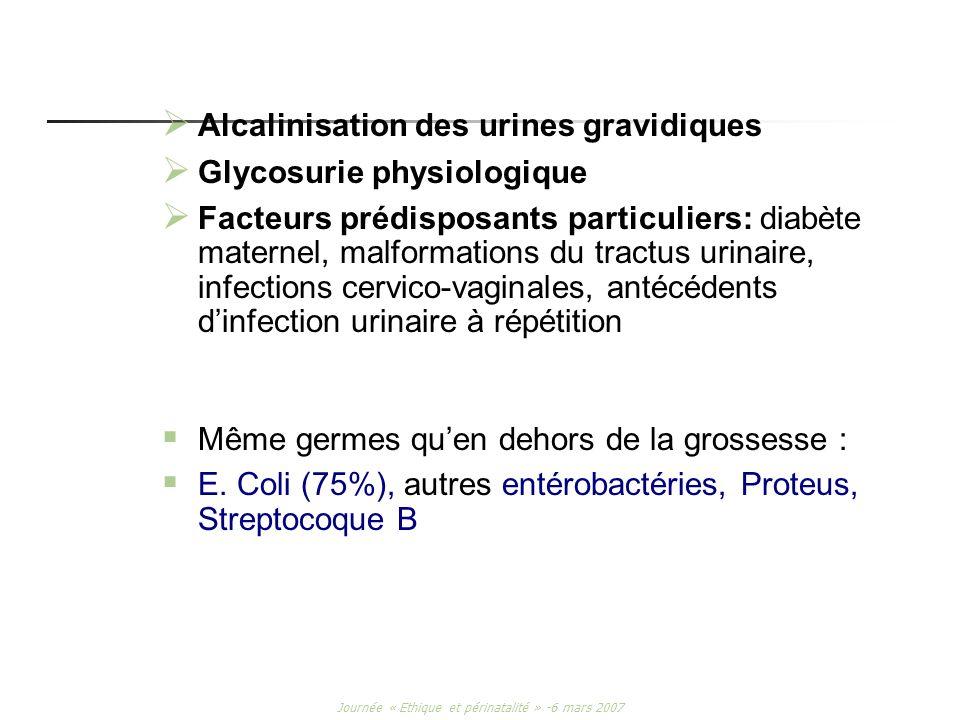 Journée « Ethique et périnatalité » -6 mars 2007 Alcalinisation des urines gravidiques Glycosurie physiologique Facteurs prédisposants particuliers: d