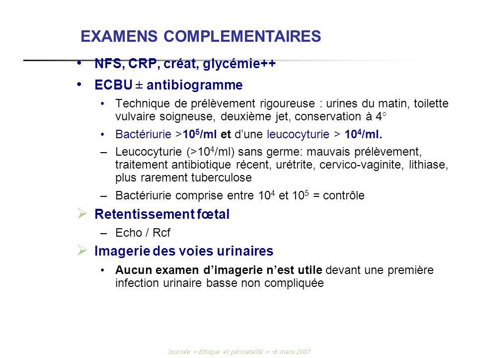 Journée « Ethique et périnatalité » -6 mars 2007 NFS, CRP, créat, glycémie++ ECBU ± antibiogramme Technique de prélèvement rigoureuse : urines du mati