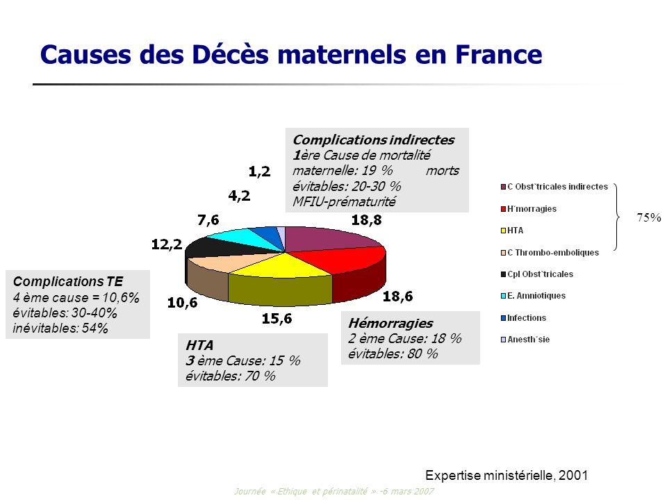 Journée « Ethique et périnatalité » -6 mars 2007 Causes des Décès maternels en France Expertise ministérielle, 2001 75% Complications indirectes 1ère