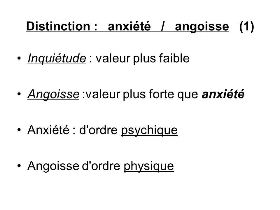 Distinction : anxiété / angoisse (1) Inquiétude : valeur plus faible Angoisse :valeur plus forte que anxiété Anxiété : d ordre psychique Angoisse d ordre physique