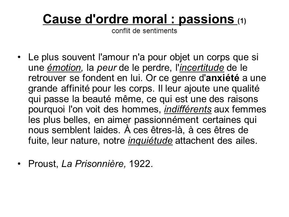 Cause d ordre moral : passions (1) conflit de sentiments Le plus souvent l amour n a pour objet un corps que si une émotion, la peur de le perdre, l incertitude de le retrouver se fondent en lui.