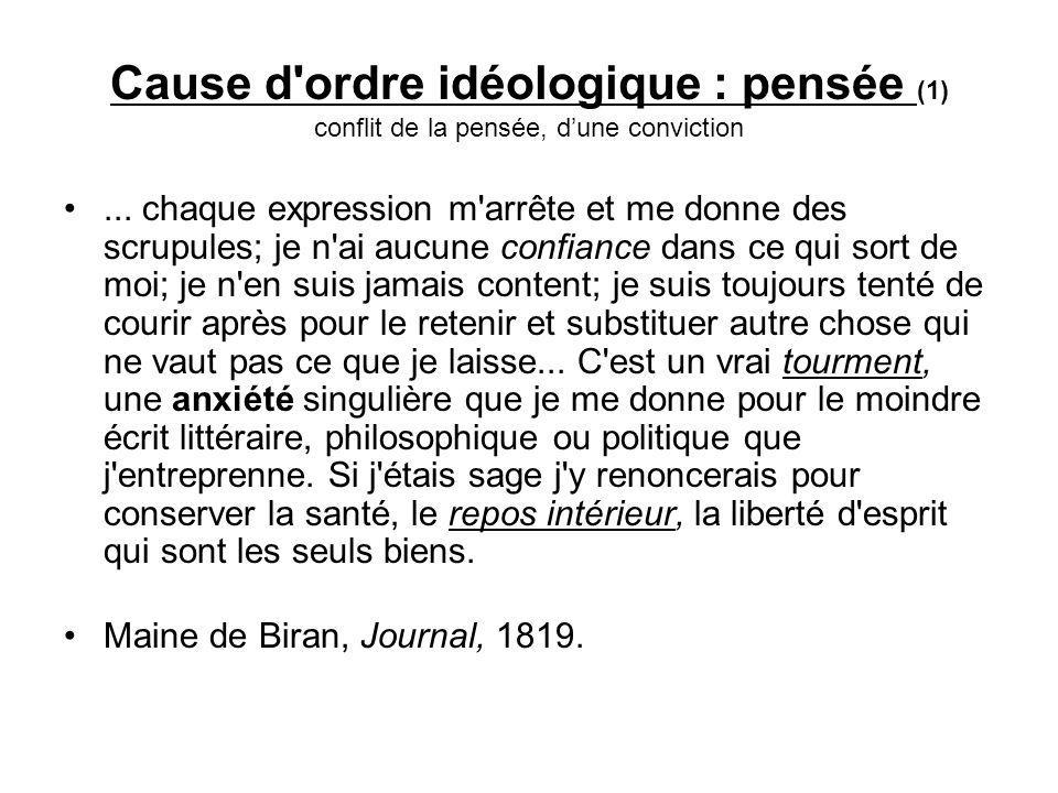 Cause d ordre idéologique : pensée (1) conflit de la pensée, dune conviction...