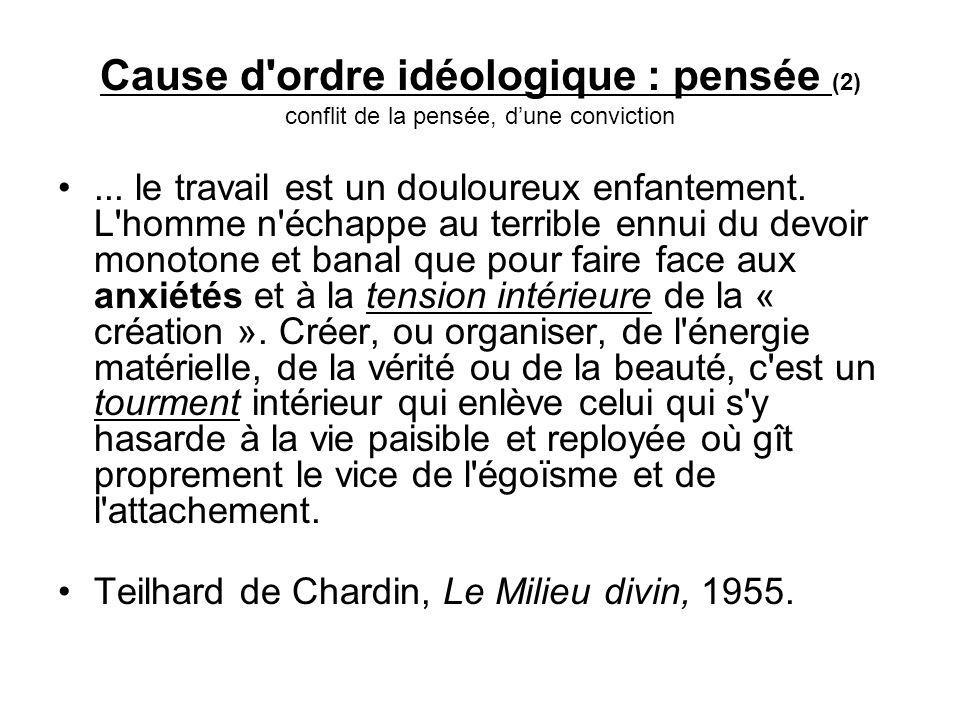 Cause d ordre idéologique : pensée (2) conflit de la pensée, dune conviction...