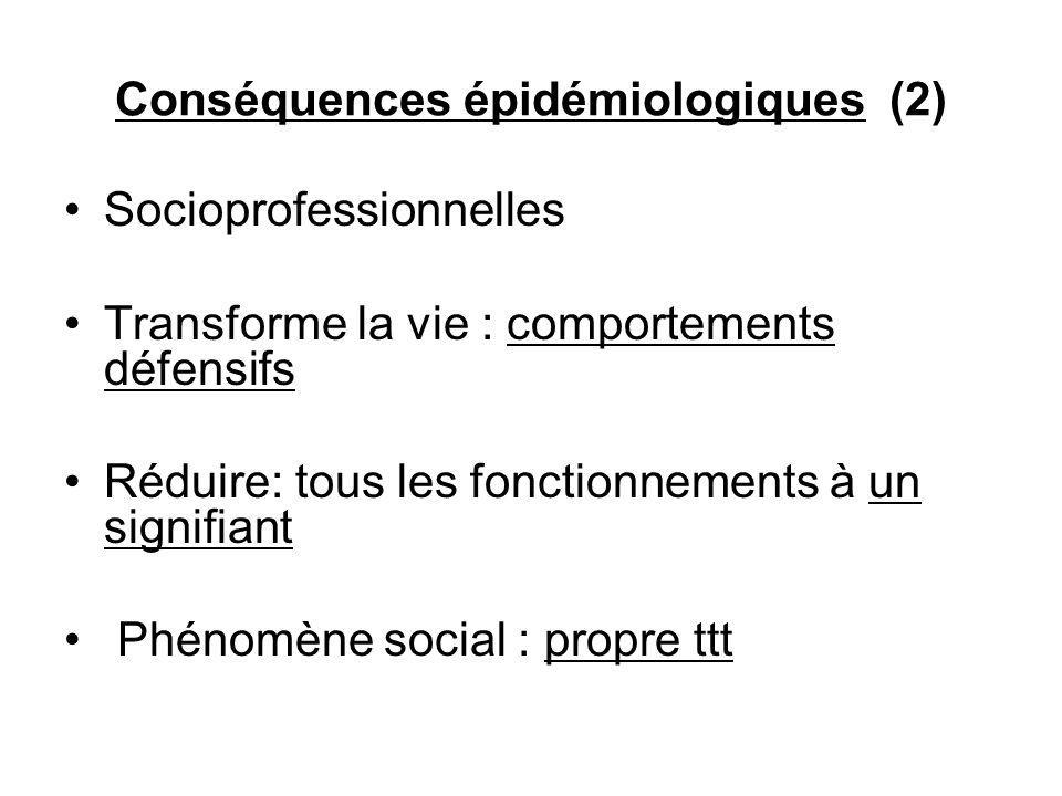 Conséquences épidémiologiques (2) Socioprofessionnelles Transforme la vie : comportements défensifs Réduire: tous les fonctionnements à un signifiant Phénomène social : propre ttt