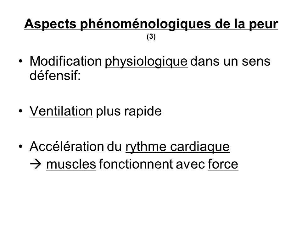 Aspects phénoménologiques de la peur (3) Modification physiologique dans un sens défensif: Ventilation plus rapide Accélération du rythme cardiaque muscles fonctionnent avec force