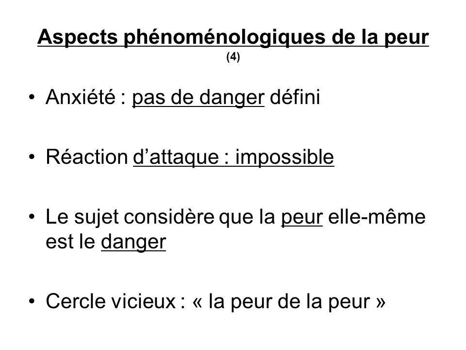 Aspects phénoménologiques de la peur (4) Anxiété : pas de danger défini Réaction dattaque : impossible Le sujet considère que la peur elle-même est le danger Cercle vicieux : « la peur de la peur »