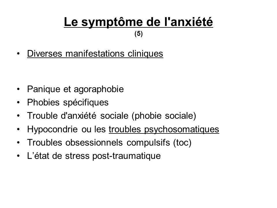 Le symptôme de l anxiété (5) Diverses manifestations cliniques Panique et agoraphobie Phobies spécifiques Trouble d anxiété sociale (phobie sociale) Hypocondrie ou les troubles psychosomatiques Troubles obsessionnels compulsifs (toc) Létat de stress post-traumatique