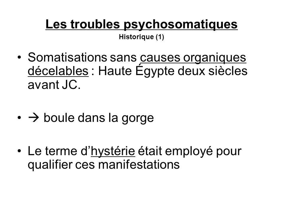 Les troubles psychosomatiques Historique (1) Somatisations sans causes organiques décelables : Haute Égypte deux siècles avant JC.