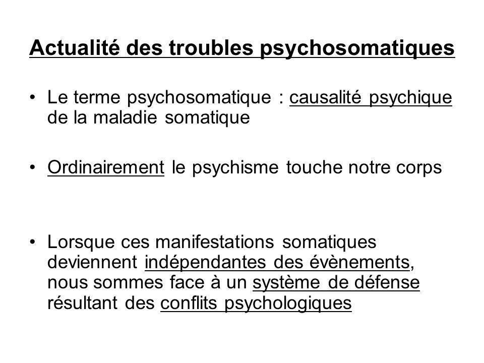 Actualité des troubles psychosomatiques Le terme psychosomatique : causalité psychique de la maladie somatique Ordinairement le psychisme touche notre corps Lorsque ces manifestations somatiques deviennent indépendantes des évènements, nous sommes face à un système de défense résultant des conflits psychologiques