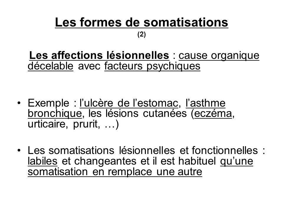 Les formes de somatisations (2) Les affections lésionnelles : cause organique décelable avec facteurs psychiques Exemple : lulcère de lestomac, lasthme bronchique, les lésions cutanées (eczéma, urticaire, prurit, …) Les somatisations lésionnelles et fonctionnelles : labiles et changeantes et il est habituel quune somatisation en remplace une autre
