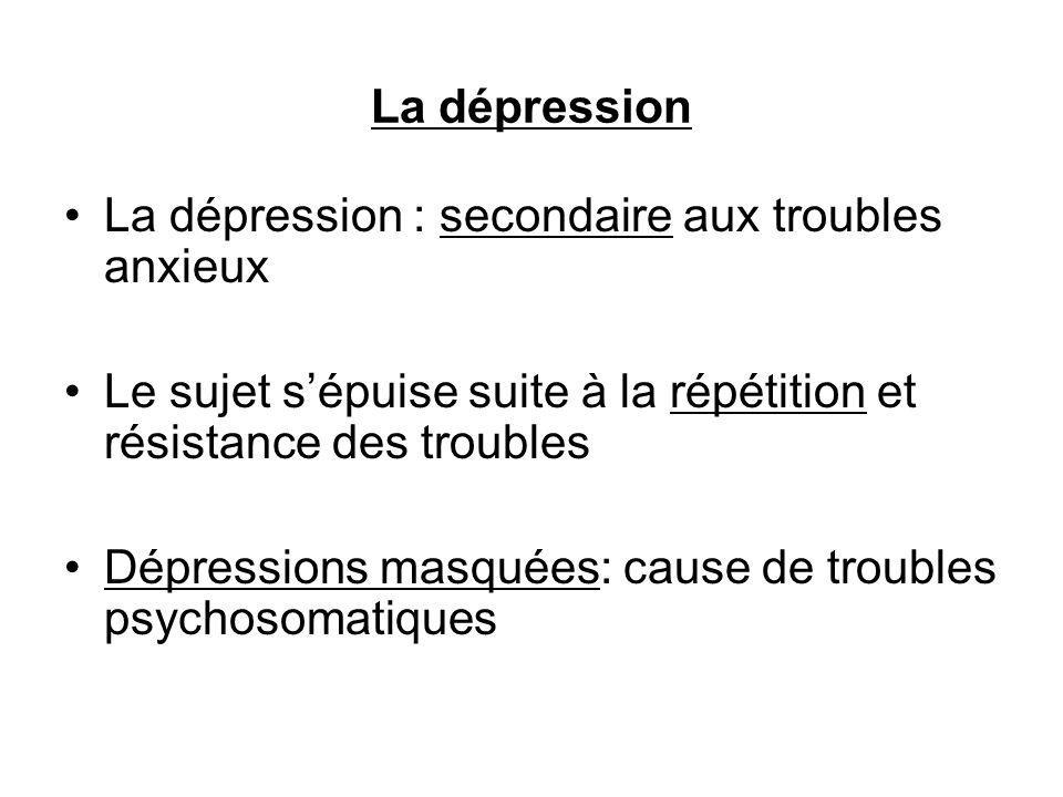 La dépression : secondaire aux troubles anxieux Le sujet sépuise suite à la répétition et résistance des troubles Dépressions masquées: cause de troubles psychosomatiques