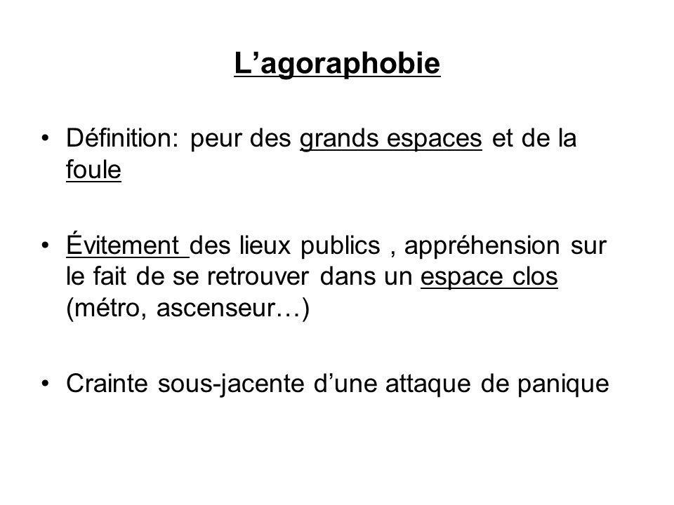 Lagoraphobie Définition: peur des grands espaces et de la foule Évitement des lieux publics, appréhension sur le fait de se retrouver dans un espace clos (métro, ascenseur…) Crainte sous-jacente dune attaque de panique
