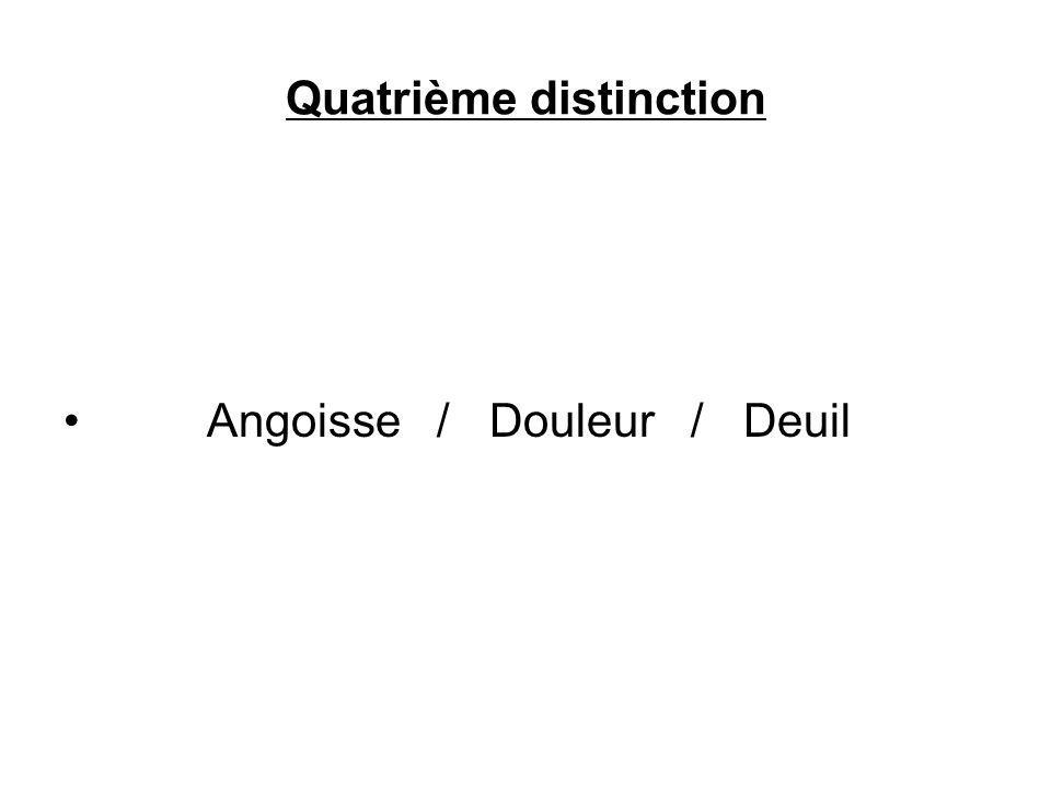 Quatrième distinction Angoisse / Douleur / Deuil