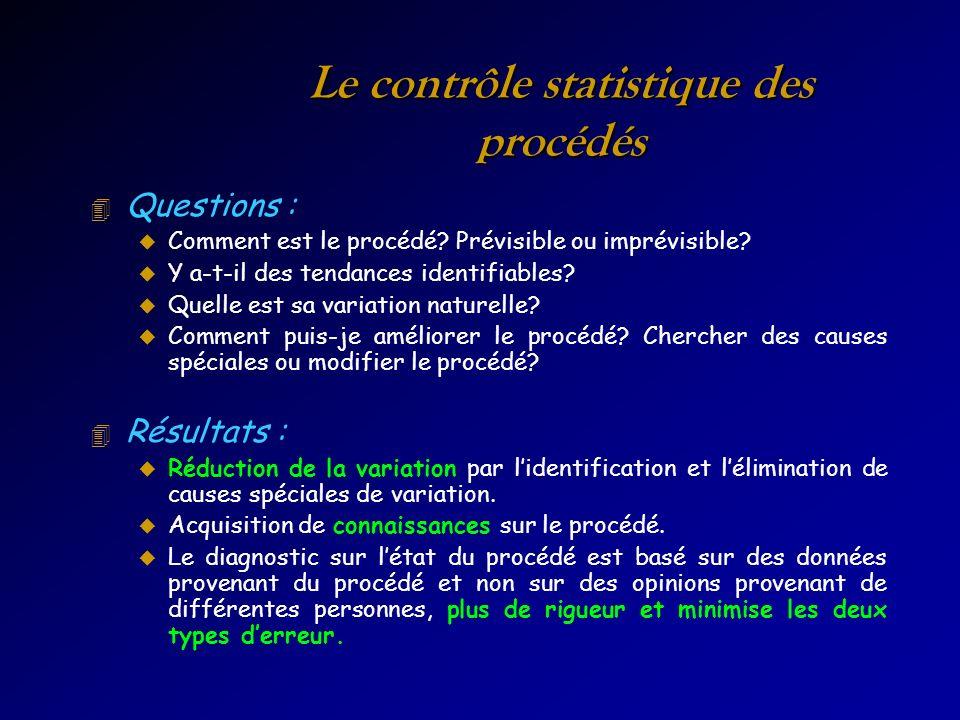 Le contrôle statistique des procédés 4 Questions : u Comment est le procédé? Prévisible ou imprévisible? u Y a-t-il des tendances identifiables? u Que